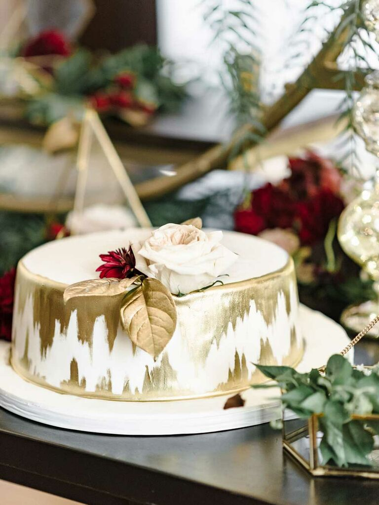 Single cutting cake with hand painted gold details