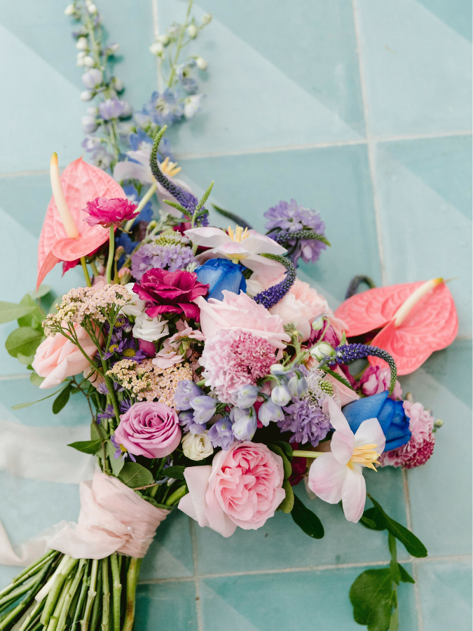 Pink-and-blue bouquet