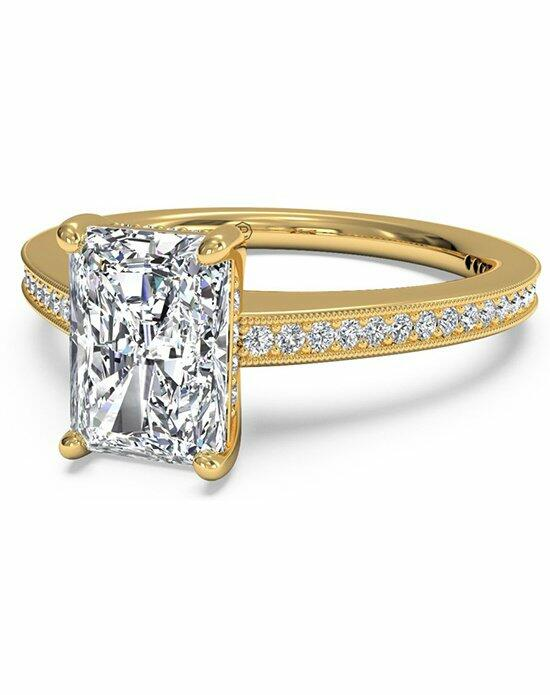 Ritani Radiant Cut Micropave Diamond Band Engagement Ring with Milgrain Finish in 18kt Yellow Gold (0.20 CTW) Engagement Ring photo