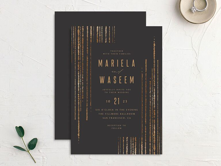 Black wedding invitation with faux gold foil effect