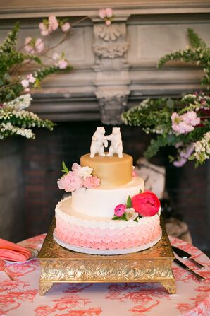 Pink Ombre Tiered Wedding Cake