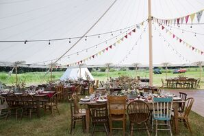 Wood Farm Tables and Mismatched Chairs