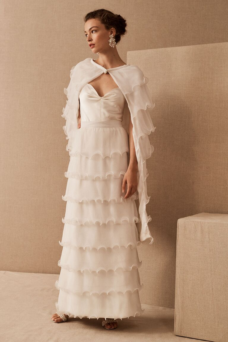 Three-piece vintage wedding dress with ruffled cape and skirt and silk-satin slip dress