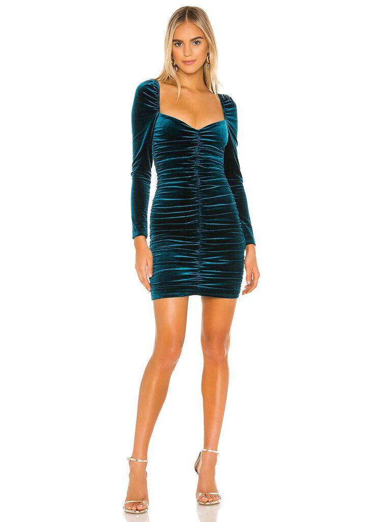 revolve blue velvet wedding guest mini dress with long sleeves sweetheart neckline and ruching