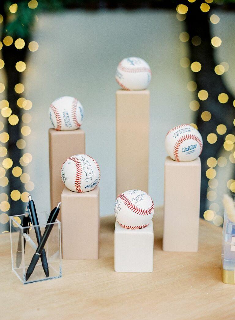 baseballs sitting on wood blocks
