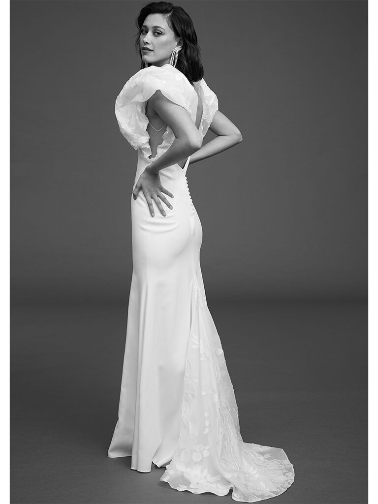 Rime Arodaky fitted dress with organza puffy sleeves
