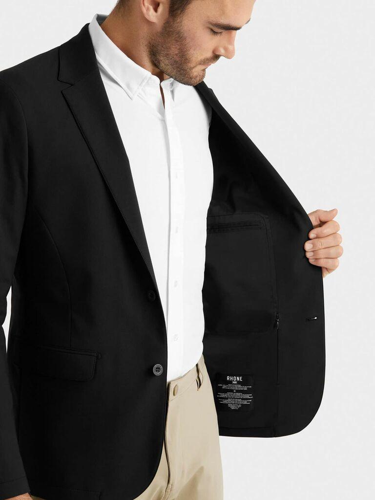 Black blazer and khaki pants