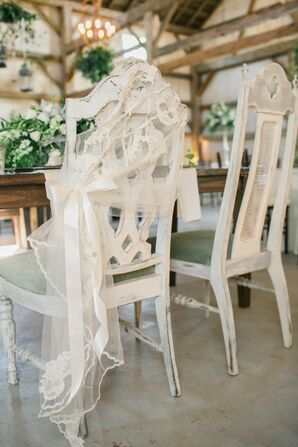 Veil-Draped Vintage Sweetheart Chairs