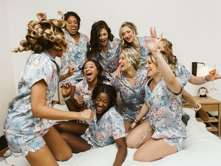 Bride with bridesmaids in pajama sets