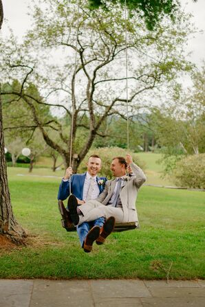 Couple on Swing at Wedding in Stowe, Vermont
