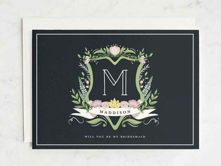 monogram bridesmaid proposal card