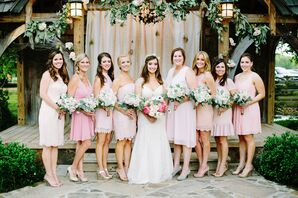Blush Bridesmaid Dresses With Whimsical Garden Bouquets