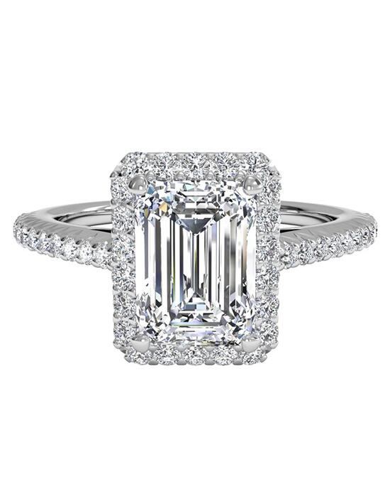 Ritani French-Set Halo Diamond Band Engagement Ring - in 14kt White Gold (0.21 CTW) for a Emerald Center Stone Engagement Ring photo