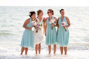 Light Blue Halter Bridesmaid Dresses