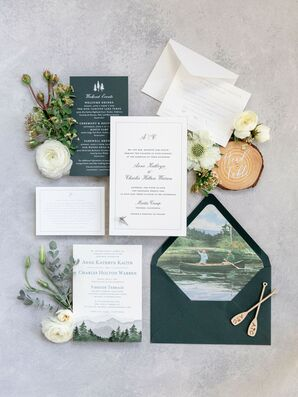 Fishing-Themed Green-and-White Wedding Invitation