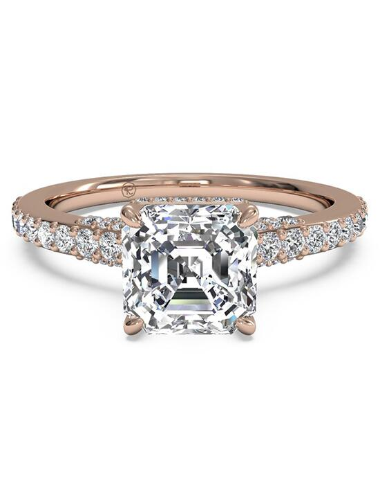 Ritani French-Set Diamond Band Engagement Ring - in 18kt Rose Gold for a Asscher Center Stone Engagement Ring photo