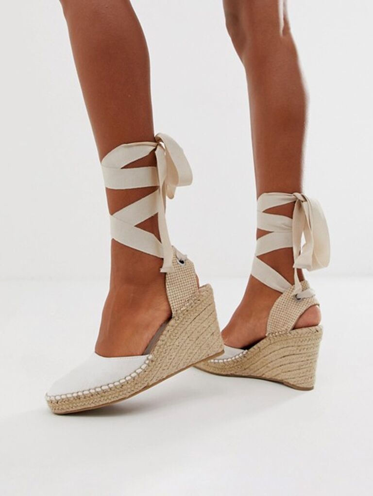 Wrap espadrille beach wedding shoes