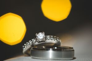 Diamond Engagement Ring with Tungsten Wedding Ring
