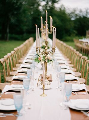 Farm Table With Runner and Candelabras With Taper Candles