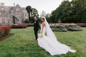Bride and Groom at Wedding at The Hempstead House at Sands Point, New York
