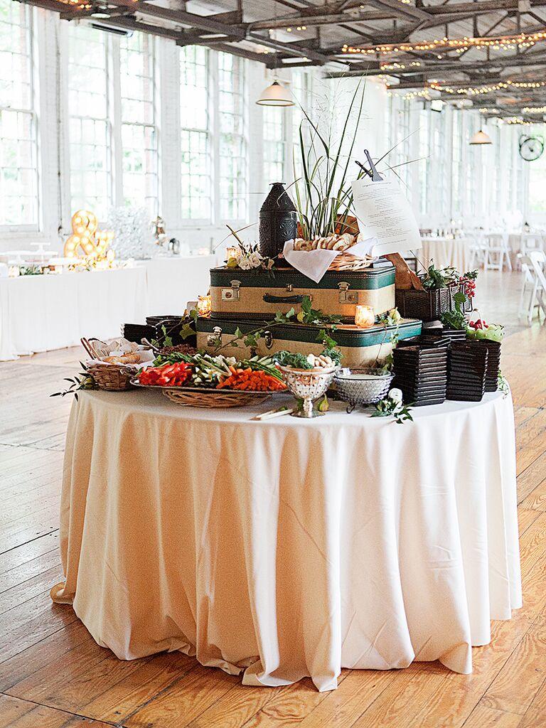 Travel-themed buffet idea for wedding reception food