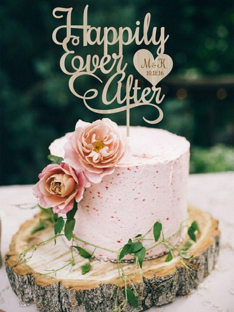 Wooden 'Happily Ever After' in loopy cursive and heart with name and wedding date inside