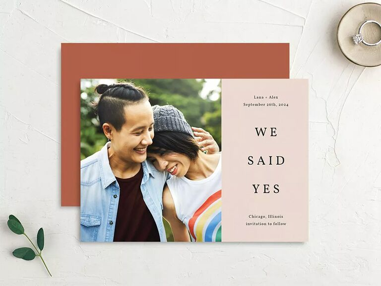 Personalized photo on left with 'We said yes!' in modern type on blush background