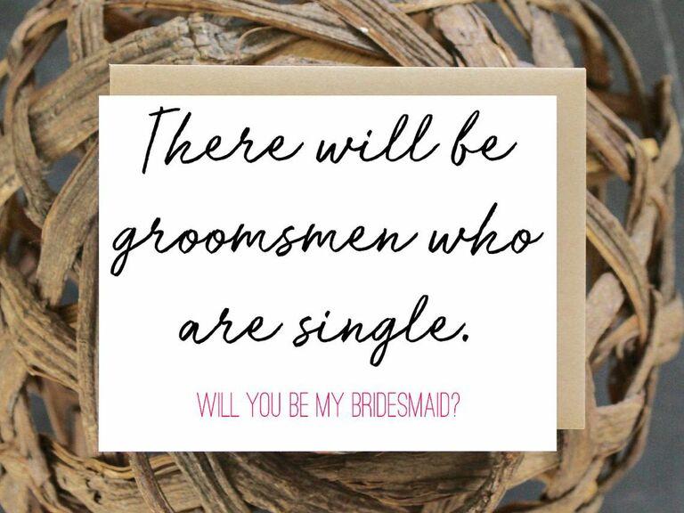 single groomsmen bridesmaid proposal card
