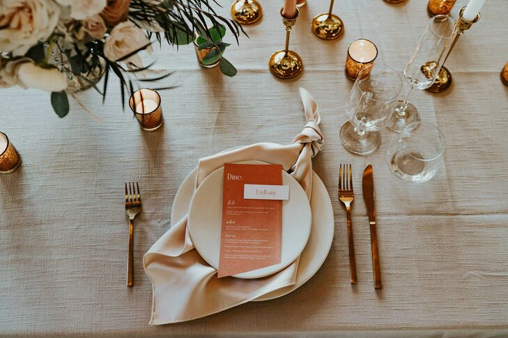 Tan-and-Blush Place Setting for Reception in Asheville, North Carolina