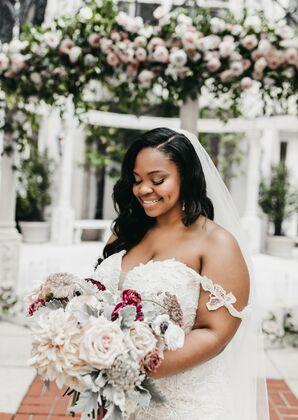 Bride Wearing Off-the-Shoulder Wedding Dress and Veil