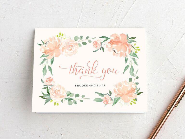 Romantic floral border bridal shower thank-you card