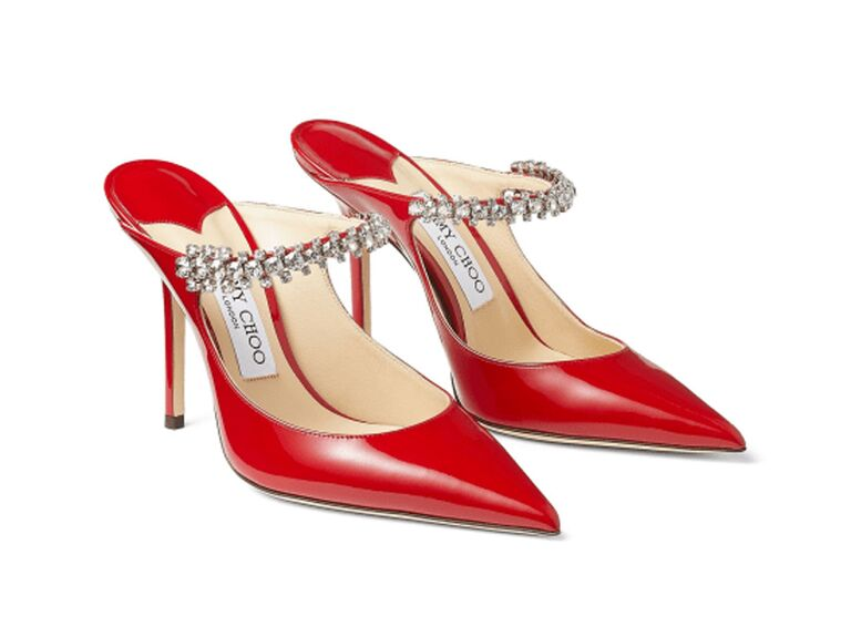 jimmy choo red patent leather mother of the groom heels with crystal straps