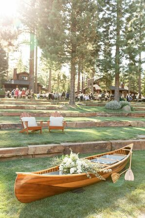 Vintage Wood Boat as Wedding Decor at Martis Camp in Truckee, California