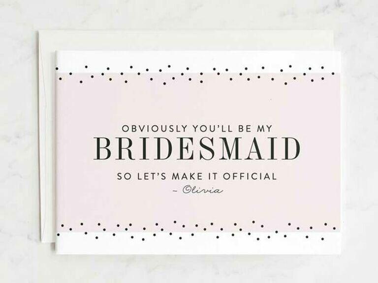 obvious bridesmaid proposal card