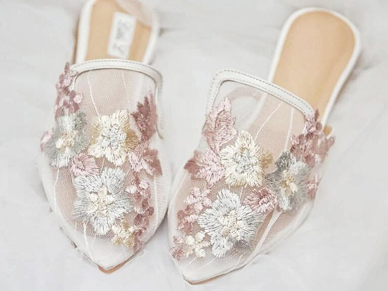 etsy light pink and white floral bride slippers