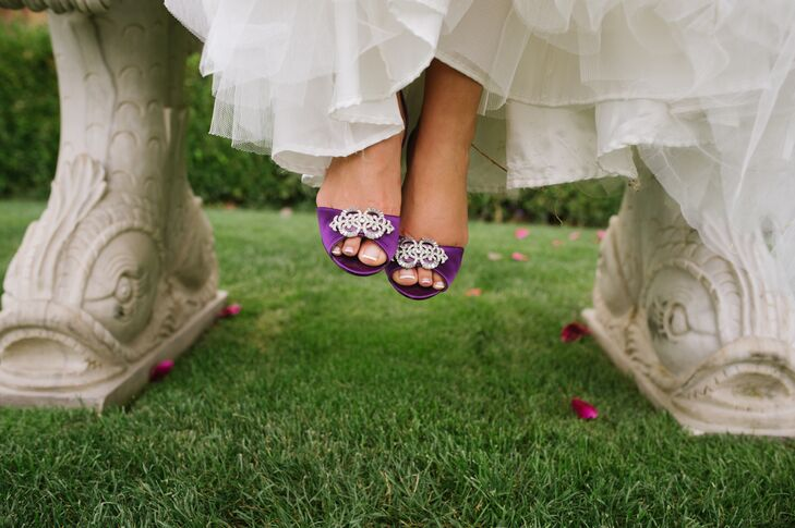 Purple Open-Toe Shoes With Silver Brooches