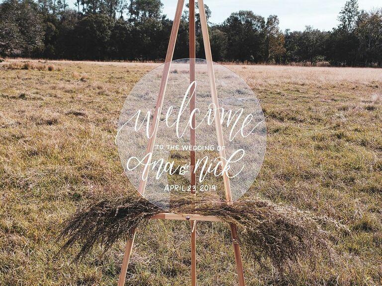 Round acrylic wedding welcome sign