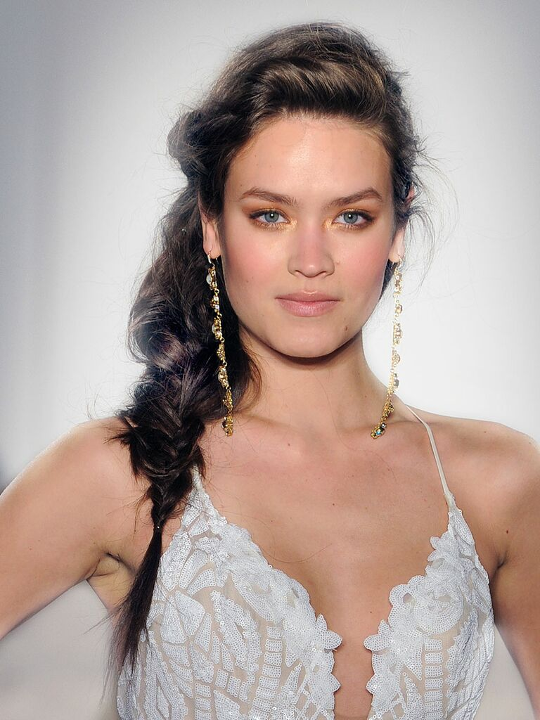 Sideswept braided hairstyle for long hair