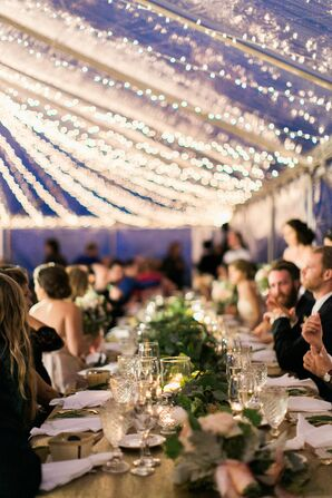 Clear Reception Tent with String Lights
