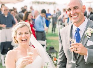 """Krysta Cordill and Jimmy Kelly wed in a modern waterfront ceremony at L'Auberge Del Mar in  Del Mar, California. """"The wedding was bursting with love a"""
