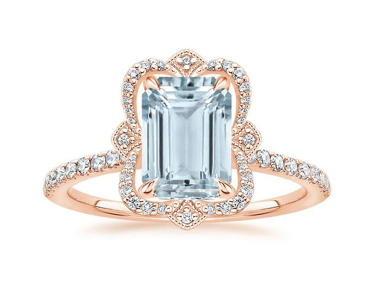 brilliant earth aquamarine engagement ring with emerald cut diamonds and rose gold band