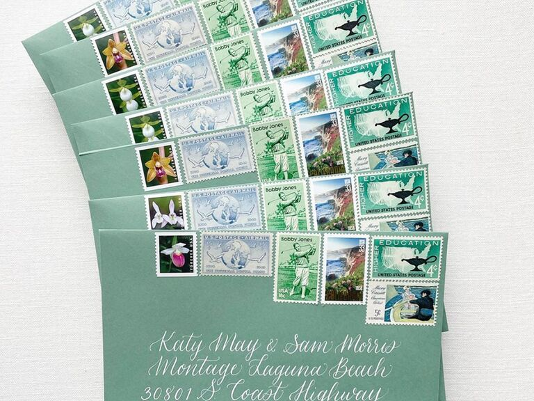 6 different styles of vintage stamps on green envelope