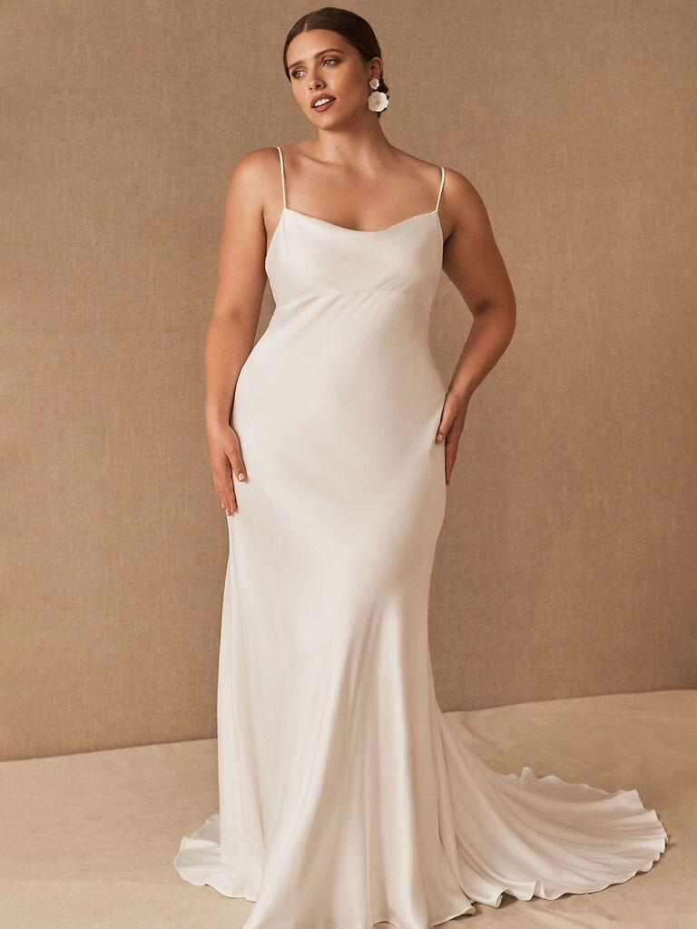 bhldn jenny yoo váy cưới trơn màu trắng satin sheath với dây đai spaghetti và váy hoa trơn váy cưới đơn giản đẹp