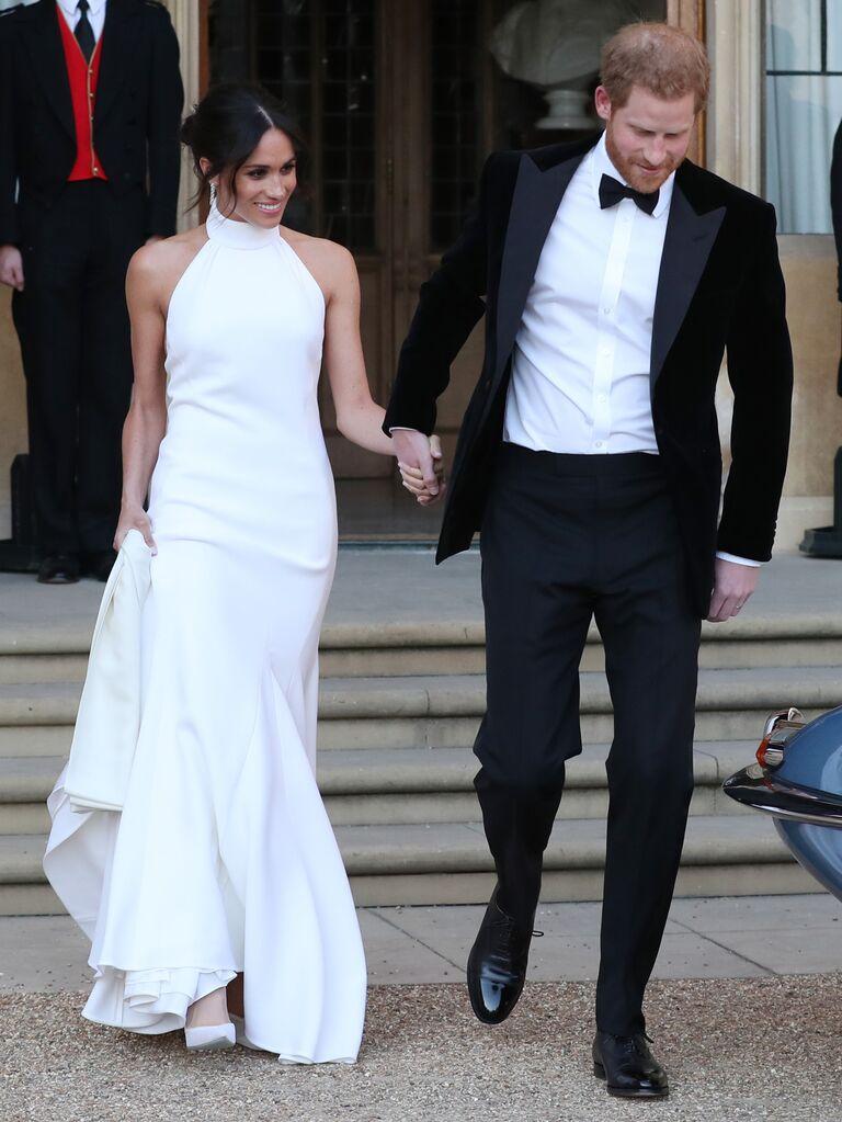 Meghan Markle royal wedding reception wedding dress with Prince Harry