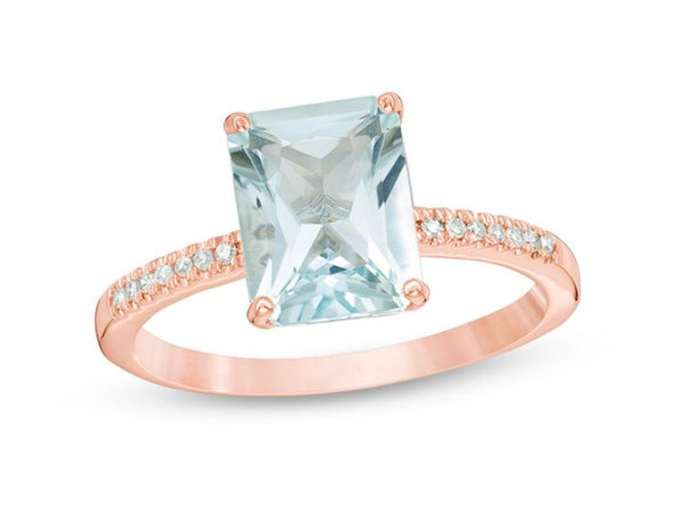 zales aquamarine engagement ring with emerald cut diamonds and rose gold band