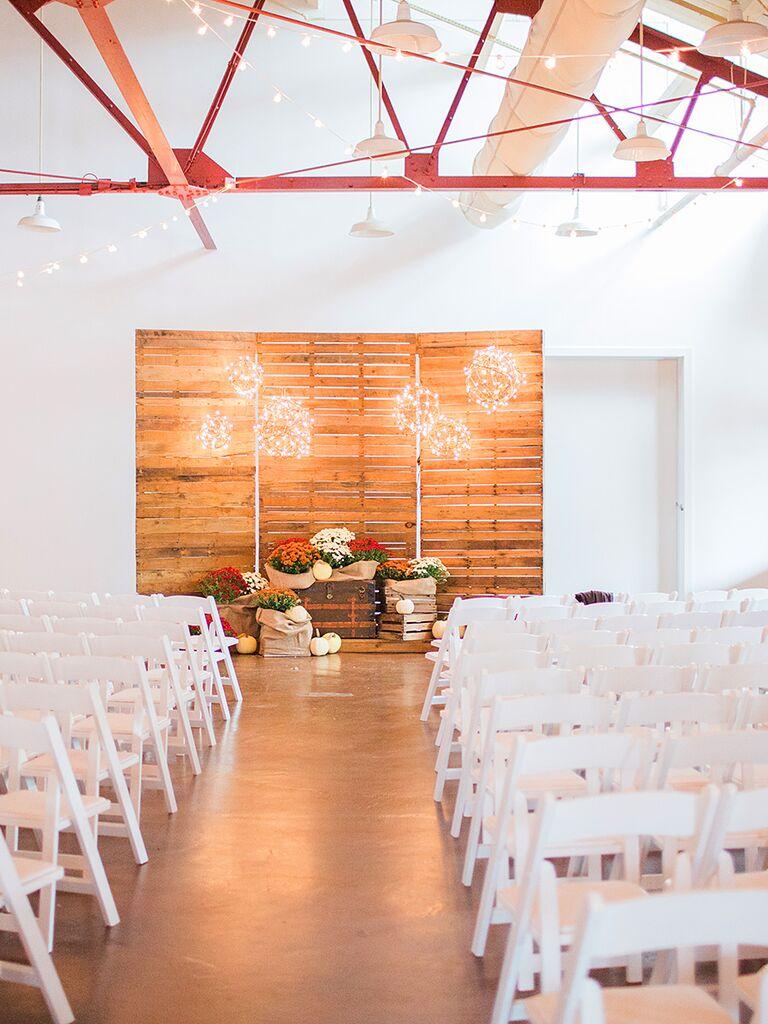 Custom DIY wooden wedding ceremony background