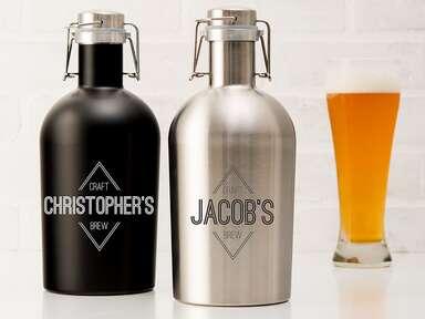 Stainless steel personalized flip-top beer growler