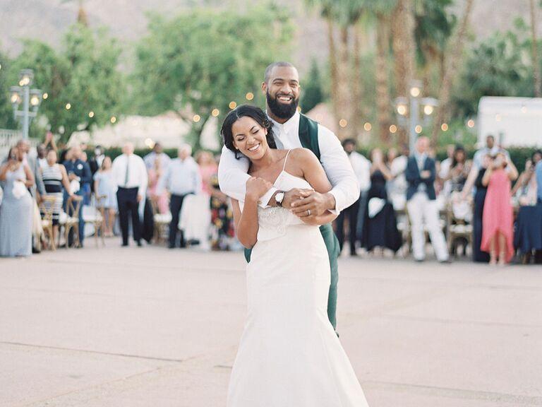 Bride and groom first dance in ourdoor reception venue