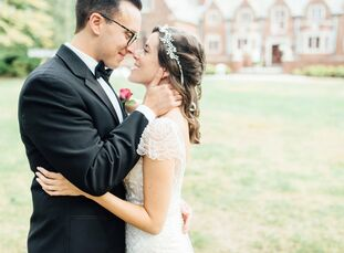 From the dramatic burgundy and cream palette to the art deco stationery and mix-and-match bridesmaid dresses, Elizabeth (27 and a psychologist) and We