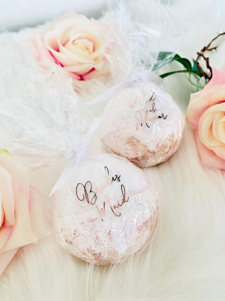 Bridesmaid and Maid of Honor bath bombs affordable gifts